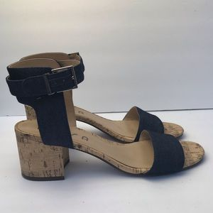 Unisa ankle strap denim block heels size 9.5